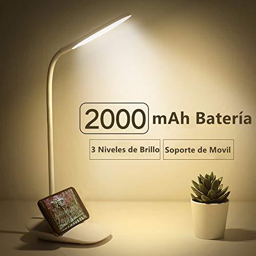 JINPX Luz Lectura Libros Lampara de Escritorio con 12 LED,3 Niveles de Brillo (Luz blanco),Panel Tactil y 360 ° Flexible luz de libro LED USB Portatil para Lectores, E-Reader, Estudio y Trabajo