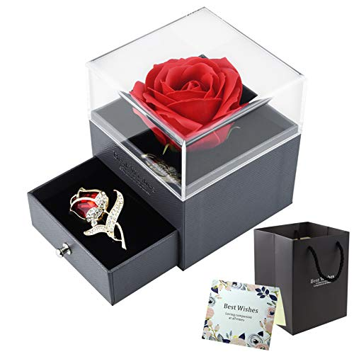 SUMERSHA Mother's Day Red Rose Gift Handmade Eternal Rose Flower Jewelry Box with Tulip Brooch for Valentine's Day, Anniversary, Christmas, Birthday Silk Flower Arrangements