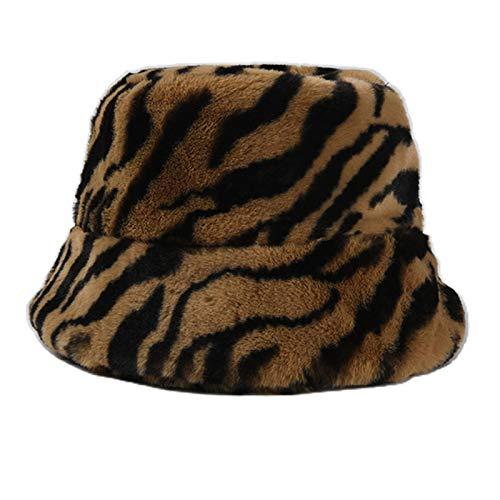 guangruiorrty Sombrero vintage con estampado de cebra de leopardo, gorro de pescador de felpa para mujeres y...