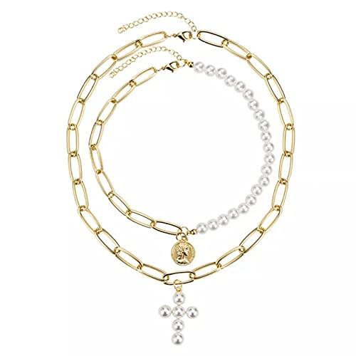 QiuYueShangMao Colgante de Collar Collar Gargantilla para Mujer Vintage Coin Pearl Colgante Collar Punk Chocker joyería para Regalo del Día de la Madre Regalo para Ella