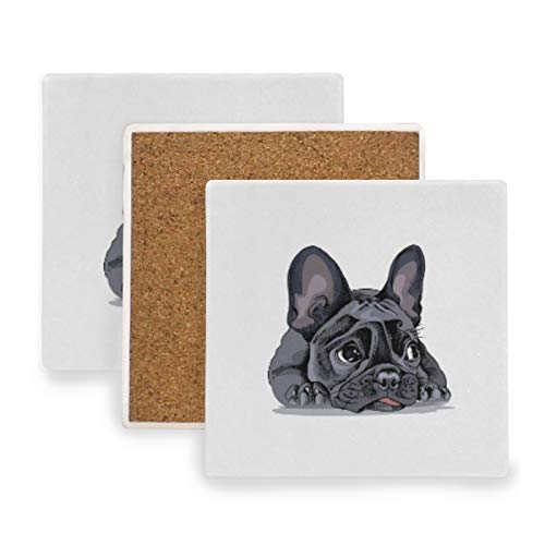 AGONA Absorbent Drink Coasters Cute French Bulldog Animal Coasters for Drink Ceramic Stone Coasters with Cork Backing Prevent Furniture from Dirty and Scratched Square Bar Coasters Set of 2