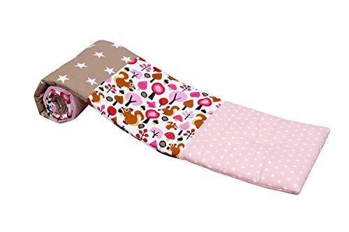 Baby Nestchen für Beistellbett (halbrund) | Made in EU | ÖkoTex 100 | Schadstoffgeprüft | Antiallergisch | Baby Bettumrandung | Babynest | Sand Eichhörnchen | 145 x 24cm | ULLENBOOM ®