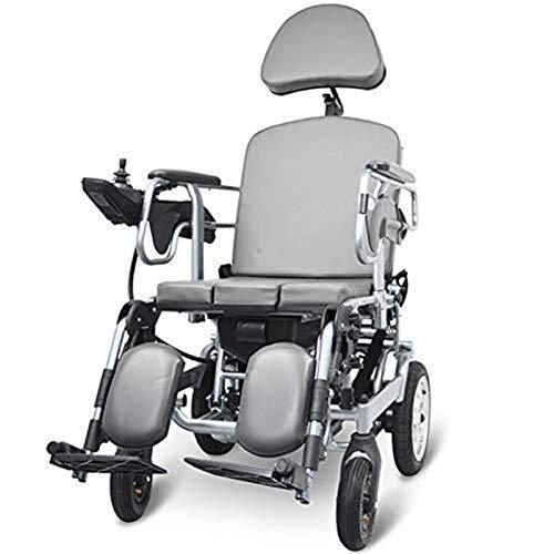 Silla de Ruedas eléctrica, Silla de ruedas eléctrica for trabajo pesado con el apoyo for la cabeza, plegable y ligero silla de ruedas eléctrica, asiento Ancho 45cm, ajustable la inclinación del respal