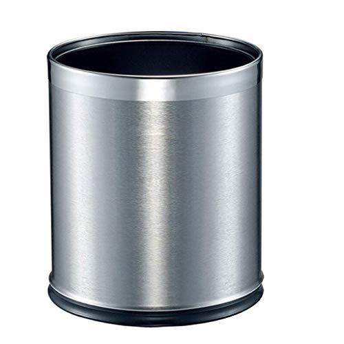 Papelera de basura Pequeño de basura doméstico sin tapa, bote de basura de doble capa de acero inoxidable 10L / 2.6 galones de bote de basura for uso en interiores, exteriores o comerciales Papelera d
