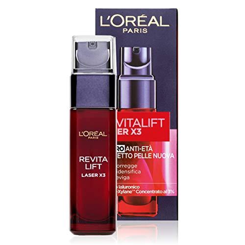 L Oréal Paris Siero Viso Revitalift Laser X3, Azione Antirughe Anti-Etàcon Acido Ialuronico e Pro-Xylane, 30ml