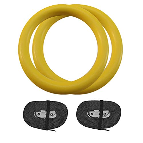 Ketamyy Gymnastic Rings, ABS Olympic Rings with Adjustable Straps Buckle Exercise Athletic Rings for Muscle Building Home Gym Cross-Training Workout Fitness Pull-Ups Yellow 28MM Width/Non-Mark Webbing