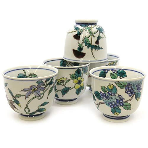 【】!九谷焼 湯のみ 5客セット 草花絵変り 陶器 和食器 伝統工芸 湯呑み茶碗 和柄 茶器