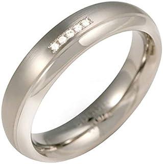 Boccia 钛合金中性款戒指钻石 0.025 CT) 白色明亮式切割 - 0130-09