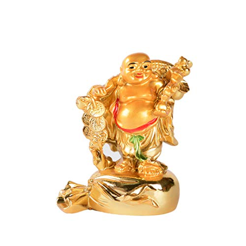 Resin Golden Laughing Buddha Carrying Coins Statue Feng Shui Wealth Lucky Gift Decoration (D)