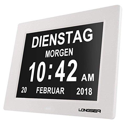 Longsea Reloj Calendario Digital 8' Multifunción Reloj Despertador Soporte de Tarjeta SD para Reproducir Fotos y Videos, 8 Alarmas Programables, para Todos Especialmente Alzheimer y Niños (Blanco)