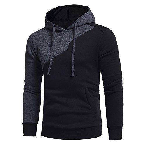 MORCHAN Hommes Long Manches Patchwork Sweat à Capuche Hauts Outwear Manteau de Veste(XXX-Large,Noir)