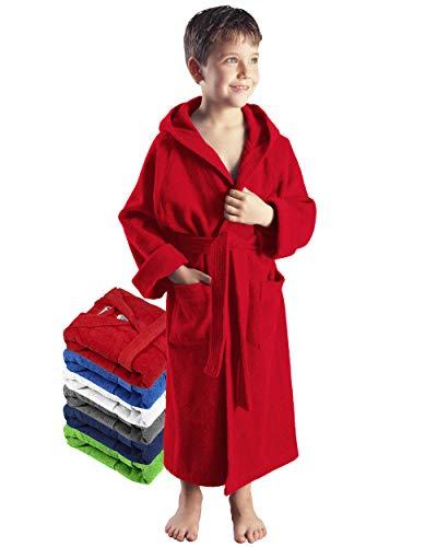 Arus Kinder-Bademantel mit Kapuze für Jungen und Mädchen, 100% Baumwolle Frottee, lang, Rot, 116
