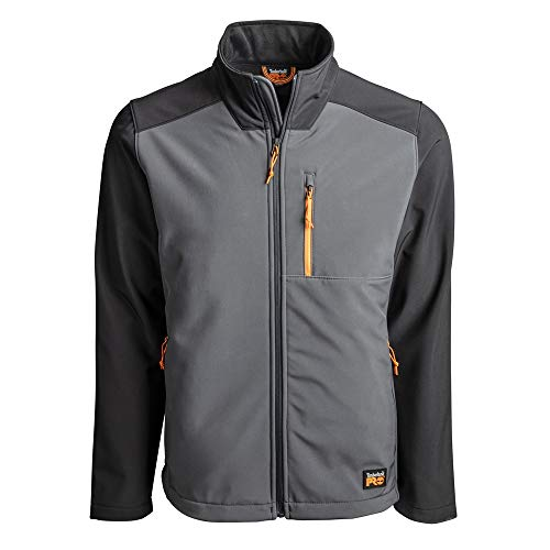 Timberland PRO Men's Power Zip Windproof Softshell Jacket (Modern Fit), Pewter, S
