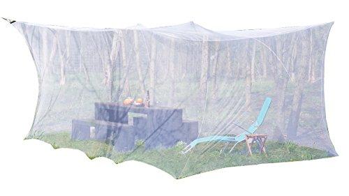 infactory Mosquitonetz: XXL-Moskitonetz für Innen & Außen, 300 x 500 x 250 cm, 220 Mesh, weiß (Moskitonetz Terrasse)