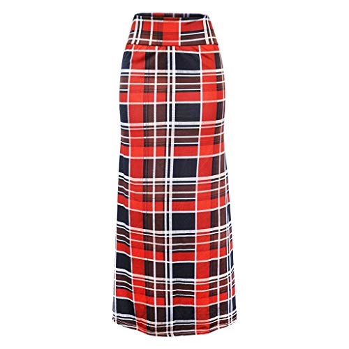 minjiSF Faldas maxi para mujer, de verano, estilo informal, con estampado geométrico, cintura alta, estilo boho, retro, falda larga rojo M