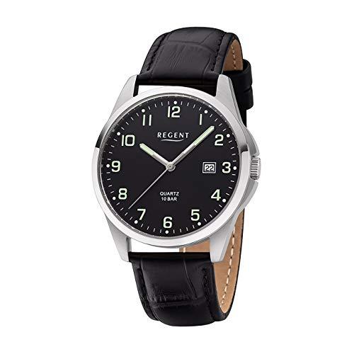 REGENT Herren-Armbanduhr Edelstahl analog Quarz Lederband schwarz F-1227