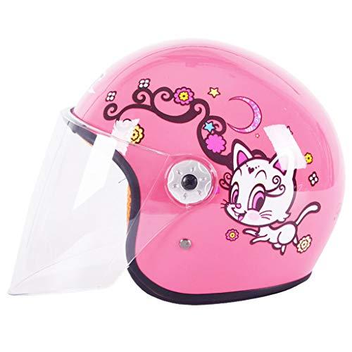 NJ Helm- Elektrische Motorrad Helm Moped Kinder vier Jahreszeiten Universal halbe Helm (Farbe : Pink)