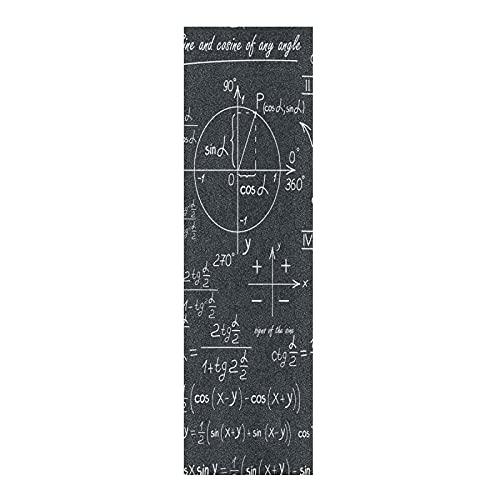 Fórmula Geométrica Matemática Blanca Negra Papel de Lija para monopatín Antideslizante Skateboard Grip Tape Hojia Cinta de Agarre Lijas 84x23cm para Longboard Scooter