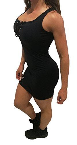 Ponte Guapa Conmigo zomerjurk van lycra voor dames. Getailleerde en mouwloze jurk. (zwarte kabel)