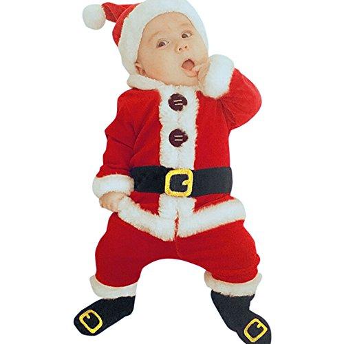 Disfraz Navidad Bebe Niña Niño Fossen 4PCS Conjunto de Ropa Papá Noel Tops+Pantalones + Sombrero + Calcetines (6-12 Meses, Rojo)
