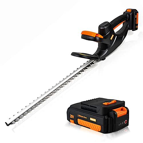 """Heywork 20V Cordless Electric Hedge Trimmers with 1x2.0Ah Li-Ion Battery Powered & Charger Included, 20"""" Dual-Action Blade with 5/8"""" Blade Gap, 6.2-lb Ultra-Lightweight for Hedges/Bushes Trimming"""