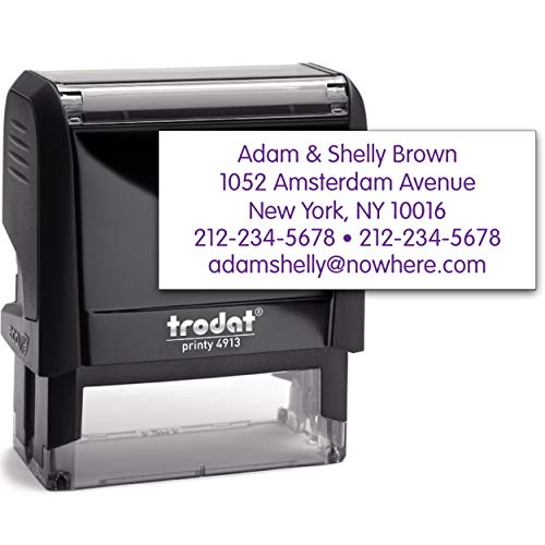 Trodat 4913 Return Address Stamp - Custom Text Stamp - Choose from Many Fonts & Colors!