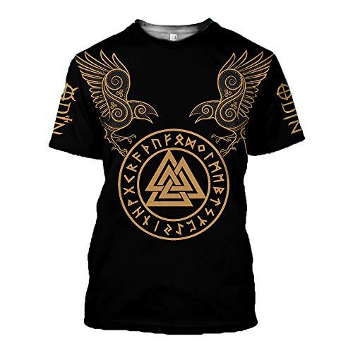 RKWEI T-shirt à manches courtes pour homme Motif tatouage Viking 3D XXL multicolore