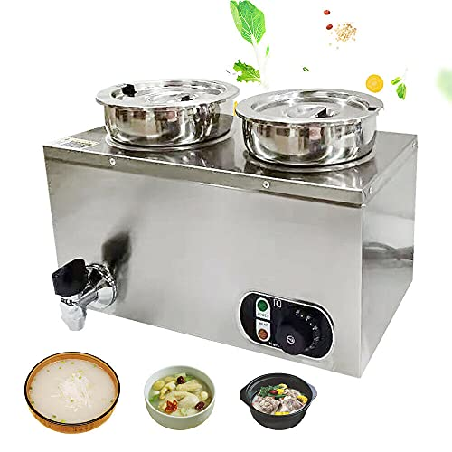 2 calentadores de alimentos de 4 l, de acero inoxidable, para baño María o barra de calor, 220 V, olla de sopa eléctrica, calentador de alimentos, barril de calor, 2 recipientes de 30 – 85 °C