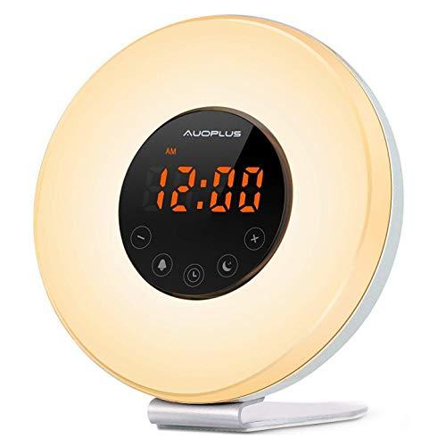 Wake-up Light, LED Licht, Lichtwecker, Wecker mit Snooze Funktion, Radiowecker, Sonnenaufgang, Dämmerung, Nachtlicht mit Natur Sounds, FM Radio, Touch Control