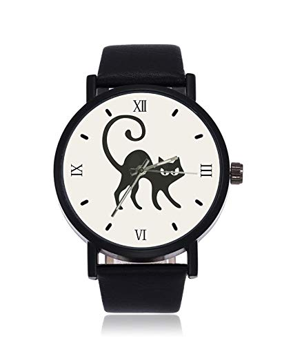 Halloween met katten bezems en heksen hoeden Ultradunne mannen vrouwen polshorloges Zakelijke Casual Sport Quartz Horloge voor vrouwen Mannen Waterdicht Unisex Horloge