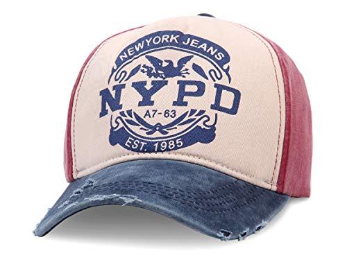 Alsino Unisex Baseball Cap NYPD Motiv im Retro Vintage Used-Look Größenverstellbar aus 100% Baumwolle, rot blau