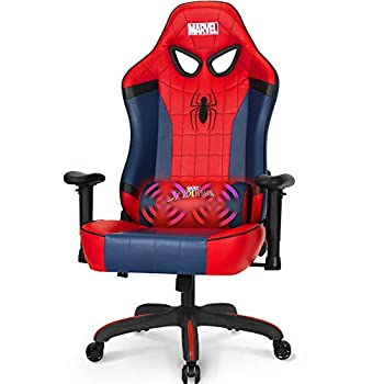 Marvel Avengers Massage Gaming Chair Desk Office Computer Racing Chairs - Adults Gamer Ergonomic Game Reclining High Back Support Racer Leather  Spider Man Red  M