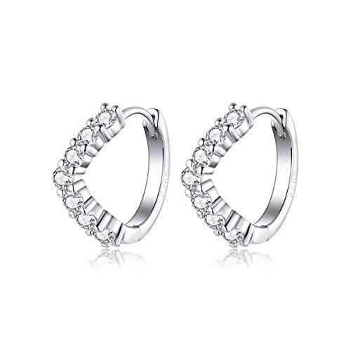 (60% OFF Coupon) Sterling Silver Cubic Zirconia Hoop Earrings $7.20