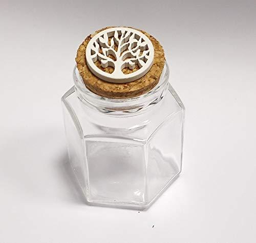 DLM-28993 (Kit 12 Pezzi) Barattolo Esagonale in Vetro Albero della Vita in Legno Bianco Confettata Segnaposto bomboniera