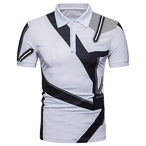 Camisa Polo Hombre Manga Corta Cuello Kent Empalme Rayas Tops Hombres Verano Regular Fit Casual Shirt Hombres Senderismo Montañismo Golf Deporte Camisa Hombres