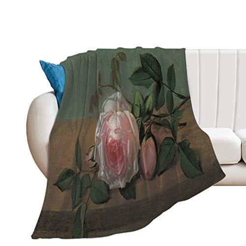 Promini Otto Ottesen Flanelldecke mit Blumen auf einer Kante von Stillleben, bequem, samtartig, ultraplüschig, weich, für Couch, Sofa, Tagesdecke, Bettüberwurf, 101,6 x 127 cm
