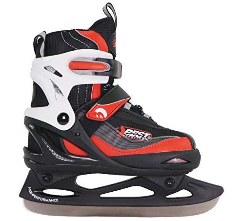 Best Sporting Schlittschuhe größenverstellbar, kältebeständig bis -20 Grad, wasserdicht und wärmeisolierend, schwarz/rot oder schwarz/blau, Farbe:schwarz/rot, Größe:38-41