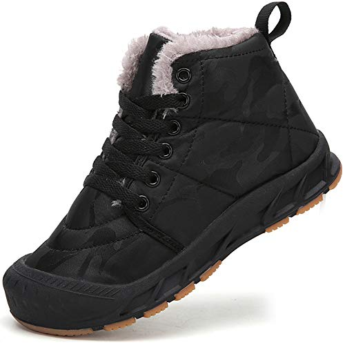 AFFINEST Winterstiefel Jungen Warm Gefütterte Winterschuhe Stiefel Kinder Mädchen Schneestiefel Winter Boots,Schwarz,31