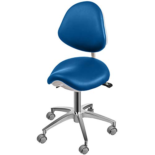 Happybuy Standard Dental Mobile Chair Saddle Doctor's Stool PU Leather Dentist Chair Dental Stool Height Adjustable for Dentists and Office (Blue)