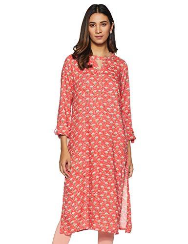 global desi Women's Rayon a line Salwar Suit Set (SS19GH064KURYSCORALXS_ Coral_ X-Small)