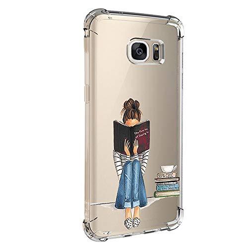 Jeack Hülle kompatibel mit Samsung Galaxy S7 hülle, Floral Motiv Handyhülle Slim Silikon Case Cover Schutzhülle Dünn Durchsichtig Handy-Tasche Back Cover Transparent Bumper für Galaxy S7 (4)