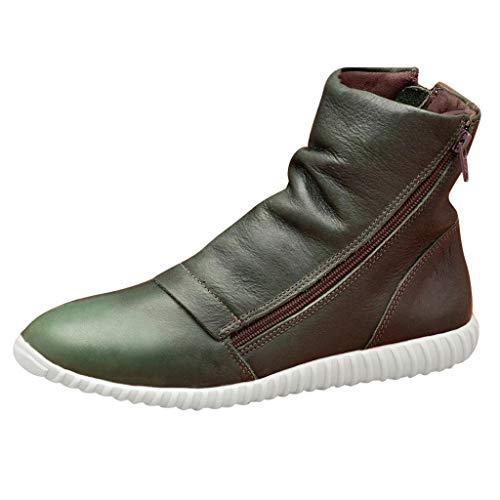 Bottes à Bouts Ronds Femmes Rétro Zippée Shoes Casual Chaussures Plates Nouveau Bottines en Cuir Artificiel Bluestercool