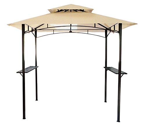 Charles Bentley Steel Grill Gazebo Outdoor Tent Shelter Made of Powder Coated Steel in Beige and Grey - 8X5Ft