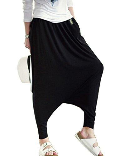 Musclealive Mujeres de la Manera Ocasional Holgado Gota Entrepierna Harem Pantalones para Damas algodón poliéster y Spandex
