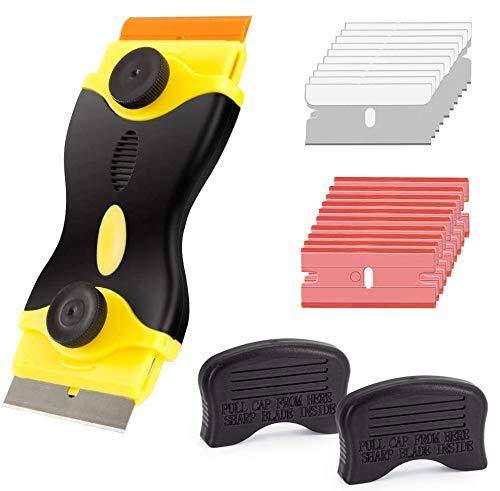 Gebildet Rascador de doble cabeza para vidrio y Vitrocerámicas, Placas de Inducción, con 10 piezas Acero Inoxidable Cuchillas + 10 piezas Plástico Cuchillas