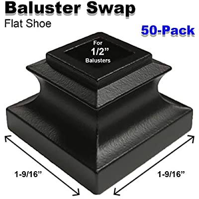 """1/2"""" Stair Iron Baluster Swap Flat Shoes (50-Pack) Stair Parts for Square Scroll Basket Twist Knuckle Railing Metal Spindles NO Set Screw (Satin Black)"""