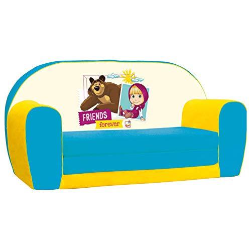 Sofá infantil Masha y el Oso, sofá cama abatible para la habitación de los niños (sofá infantil abatible, apto a partir de los 18 meses, dimensiones de transporte: 78 x 42 x 36 cm), multicolor