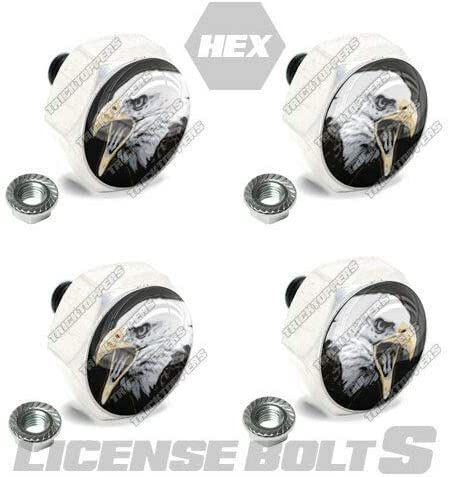 4 Polished Hex Billet License Plate BALD Frame - Excellent Easy-to-use Bolts Tag