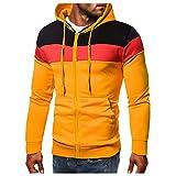 Dasongff - Sudadera con capucha para hombre, diseño de patchwork, con color de contraste, manga larga, básica, con capucha, ropa deportiva, manga larga, con capucha, corte ajustado, deporte, outwear