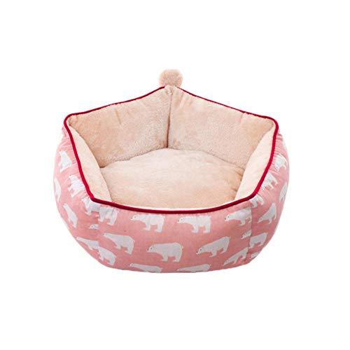 Funihut hondenmand hondenmand kussen honden katten van vilt - Premium opvouwbaar speelgoed - voor planken type IKEA of om op de grond te leggen voor katten honden (haarballe), 48*38*24cm, Ours polaire rose
